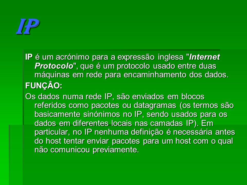 ARP ARP é um protocolo usado para encontrar um endereço Ethernet (MAC) a partir do endereço IP.