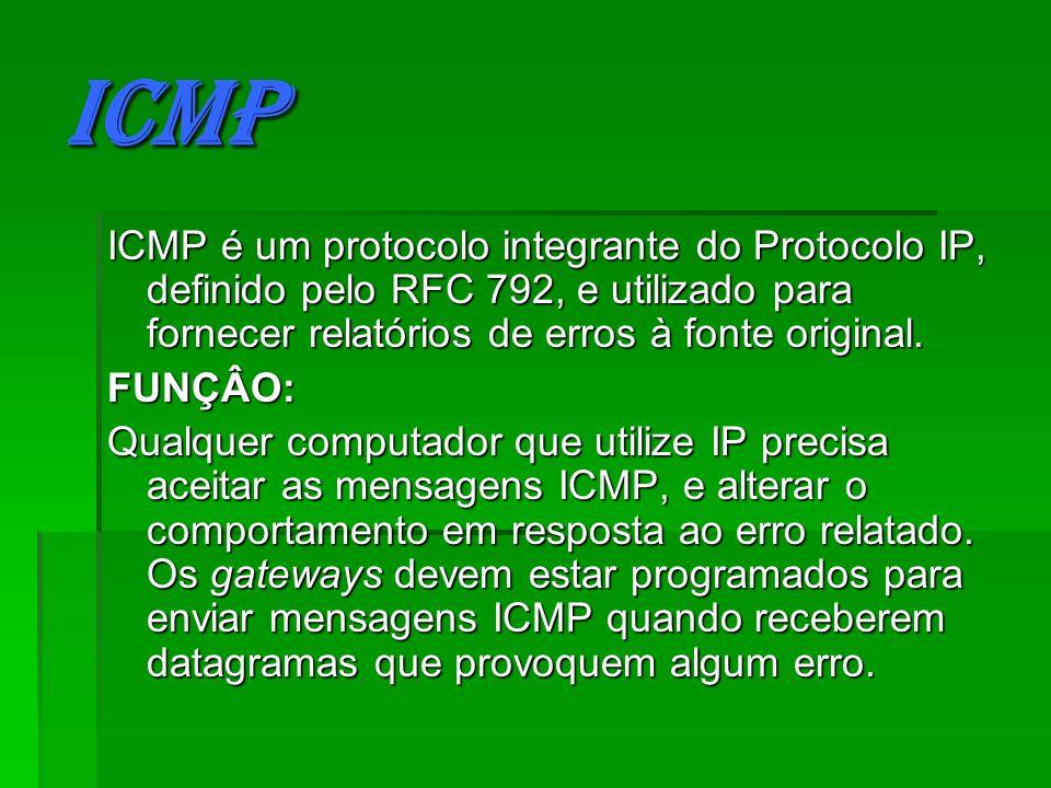 ICMP ICMP é um protocolo integrante do Protocolo IP, definido pelo RFC 792, e utilizado para fornecer relatórios de erros à fonte original. FUNÇÂO: Qu