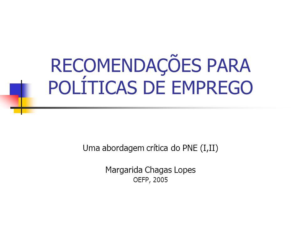 RECOMENDAÇÕES PARA POLÍTICAS DE EMPREGO Uma abordagem crítica do PNE (I,II) Margarida Chagas Lopes OEFP, 2005