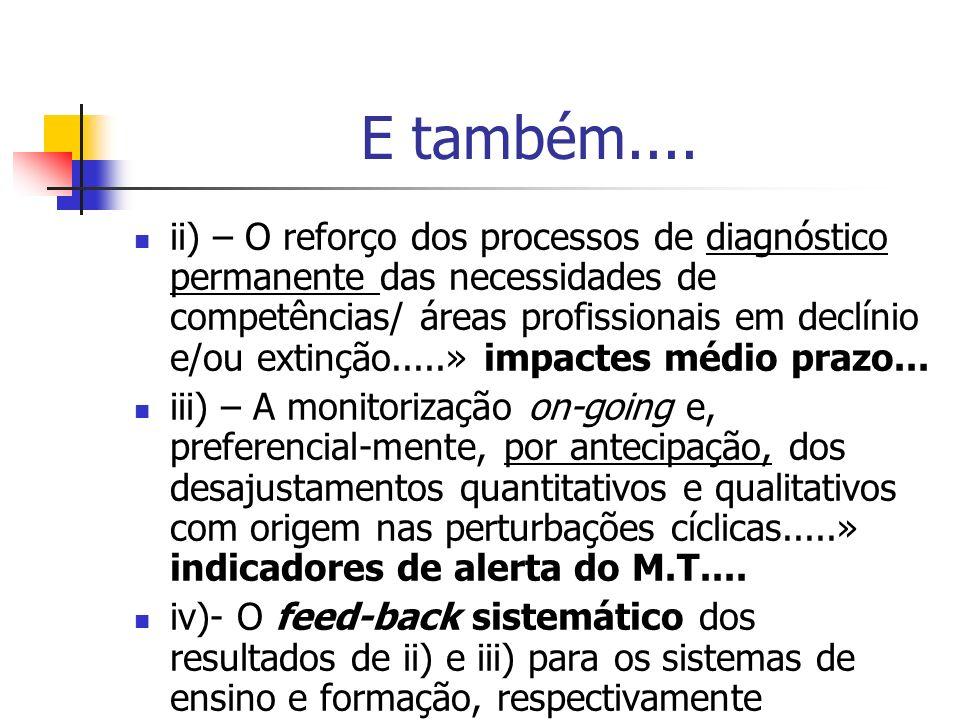 E também.... ii) – O reforço dos processos de diagnóstico permanente das necessidades de competências/ áreas profissionais em declínio e/ou extinção..