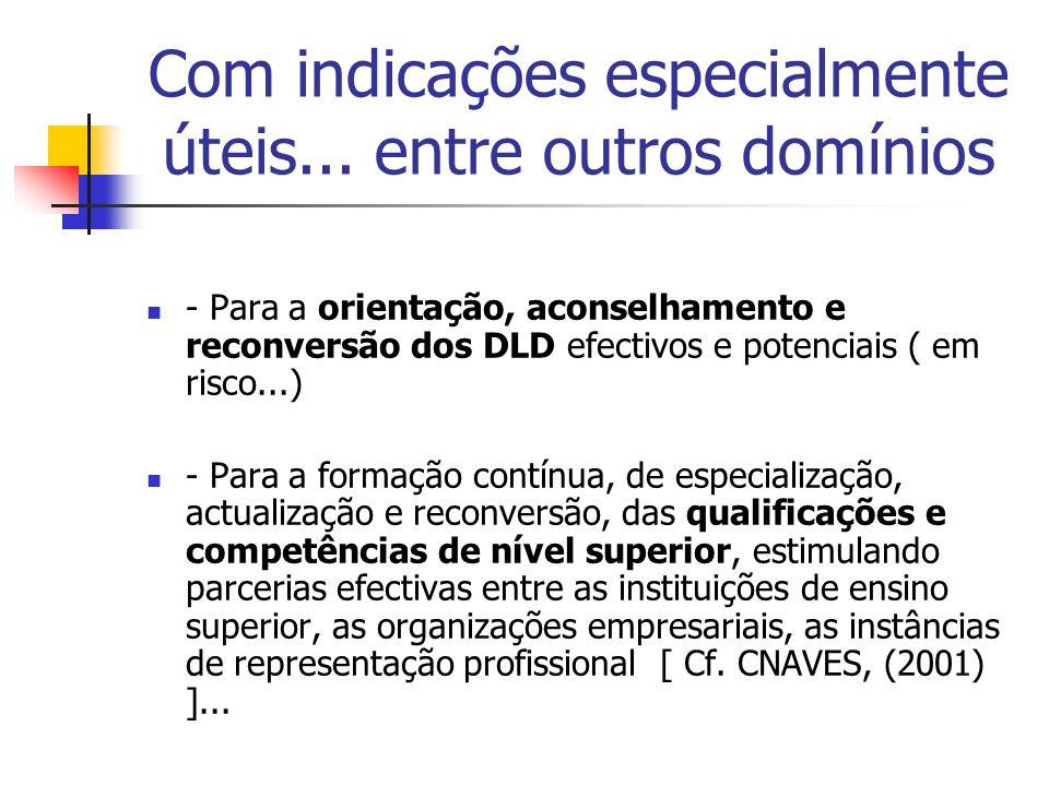 Com indicações especialmente úteis... entre outros domínios - Para a orientação, aconselhamento e reconversão dos DLD efectivos e potenciais ( em risc