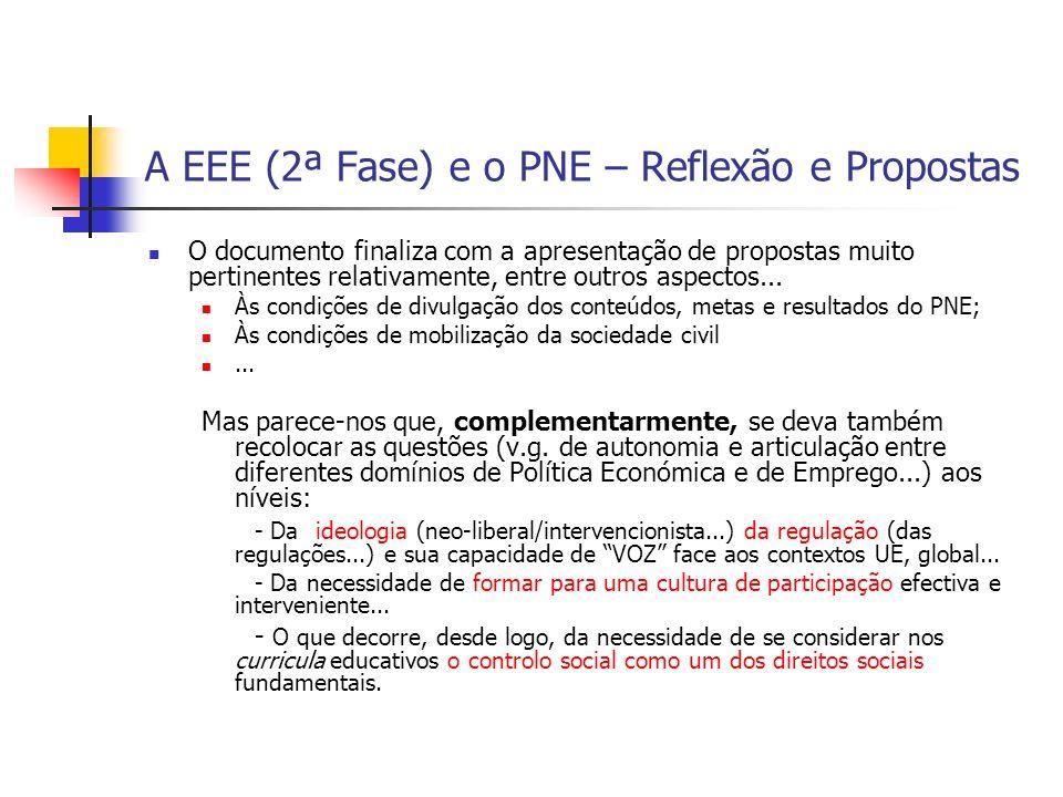 A EEE (2ª Fase) e o PNE – Reflexão e Propostas O documento finaliza com a apresentação de propostas muito pertinentes relativamente, entre outros aspe