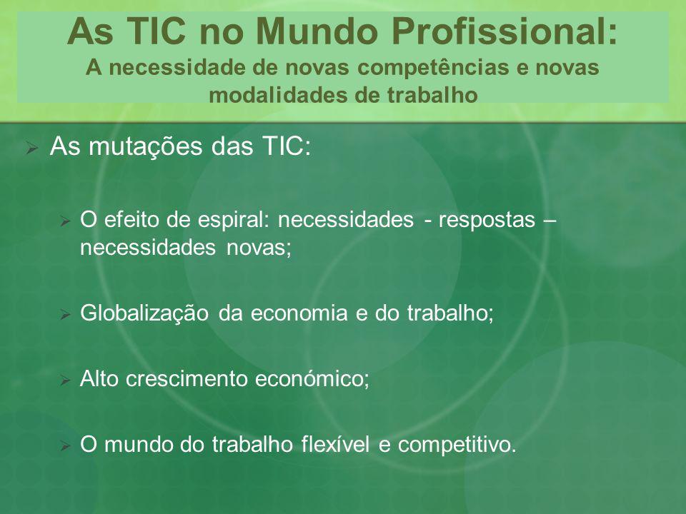 As TIC no Mundo Profissional: A necessidade de novas competências e novas modalidades de trabalho As mutações das TIC: O efeito de espiral: necessidad
