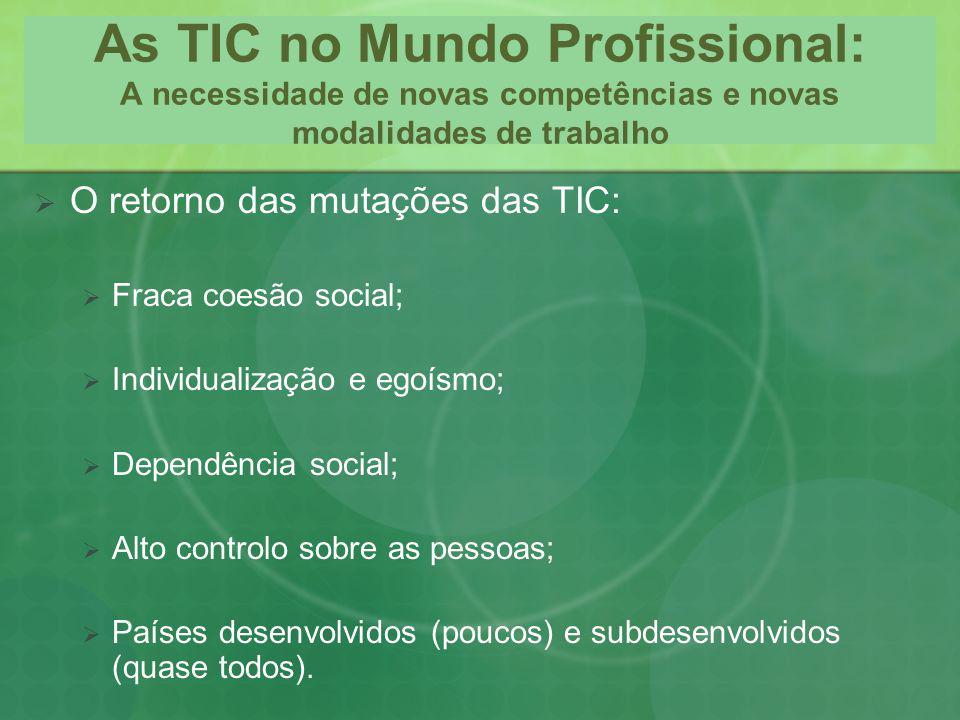 As TIC no Mundo Profissional: A necessidade de novas competências e novas modalidades de trabalho O retorno das mutações das TIC: Fraca coesão social;