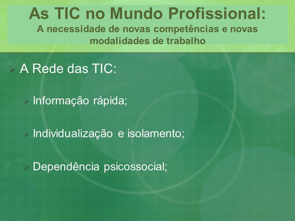 As TIC no Mundo Profissional: A necessidade de novas competências e novas modalidades de trabalho A Rede das TIC: Informação rápida; Individualização