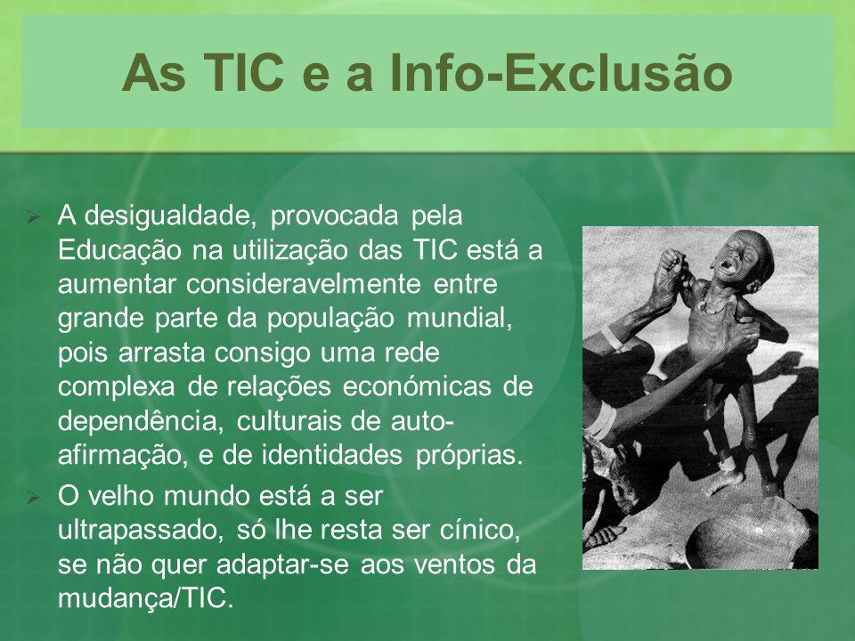 As TIC e a Info-Exclusão A desigualdade, provocada pela Educação na utilização das TIC está a aumentar consideravelmente entre grande parte da populaç