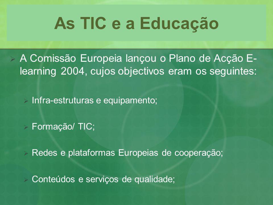 As TIC e a Educação A Comissão Europeia lançou o Plano de Acção E- learning 2004, cujos objectivos eram os seguintes: Infra-estruturas e equipamento;