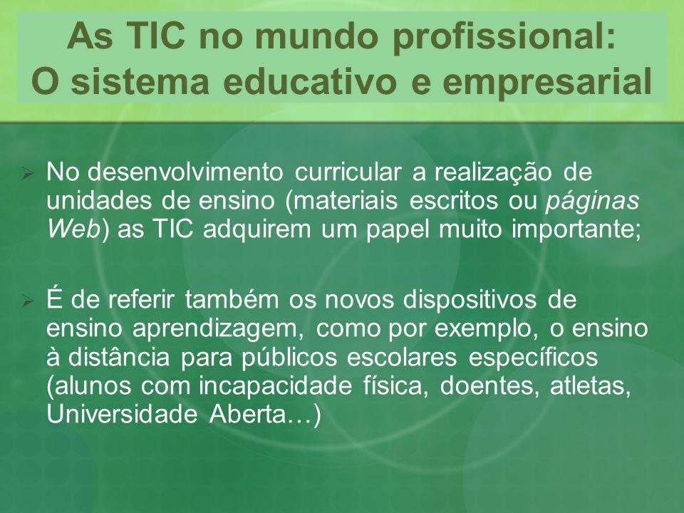 As TIC no mundo profissional: O sistema educativo e empresarial No desenvolvimento curricular a realização de unidades de ensino (materiais escritos o