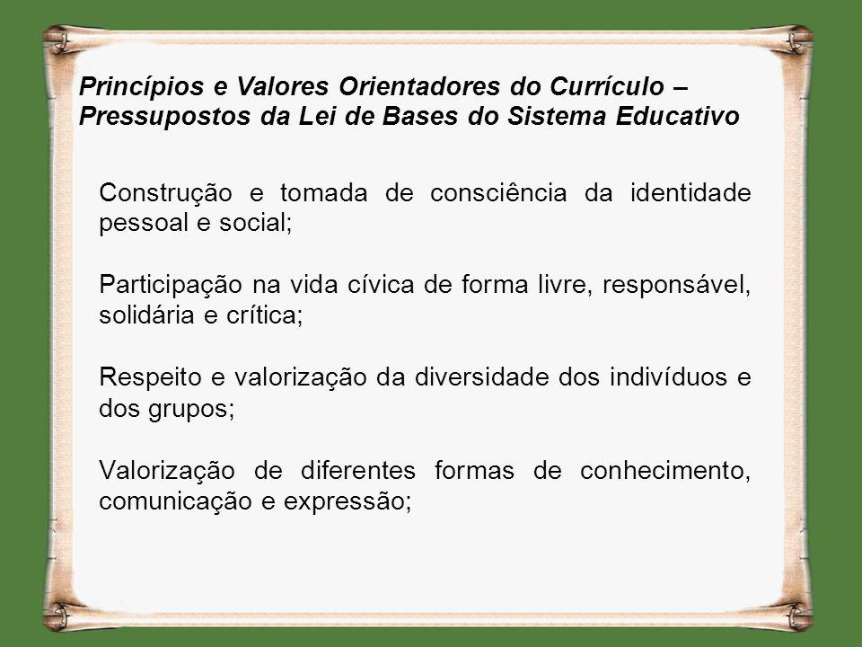 Princípios e Valores Orientadores do Currículo – Pressupostos da Lei de Bases do Sistema Educativo Construção e tomada de consciência da identidade pe