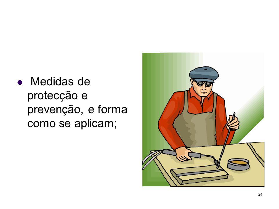24 Medidas de protecção e prevenção, e forma como se aplicam;