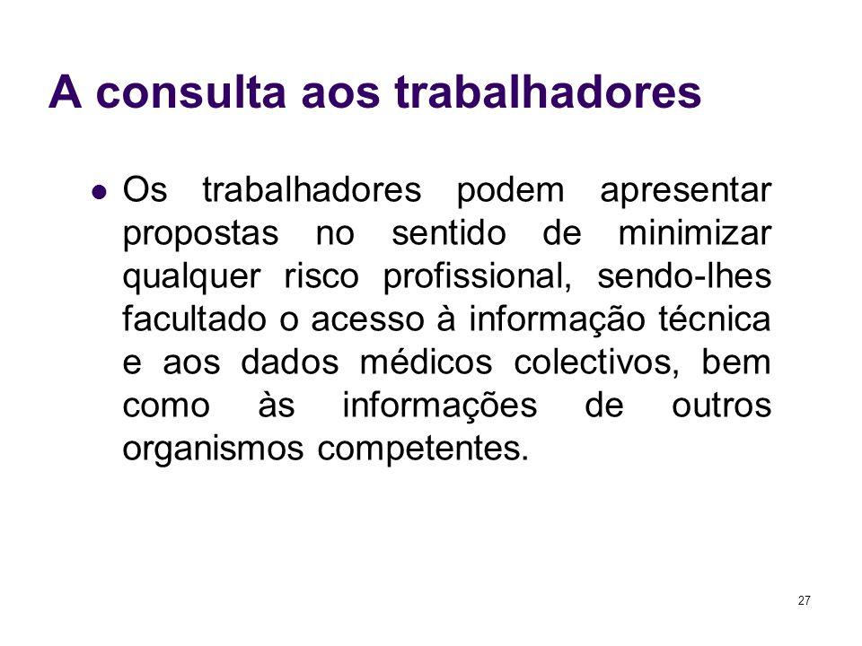 27 A consulta aos trabalhadores Os trabalhadores podem apresentar propostas no sentido de minimizar qualquer risco profissional, sendo-lhes facultado o acesso à informação técnica e aos dados médicos colectivos, bem como às informações de outros organismos competentes.