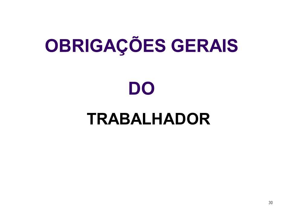 30 OBRIGAÇÕES GERAIS DO TRABALHADOR