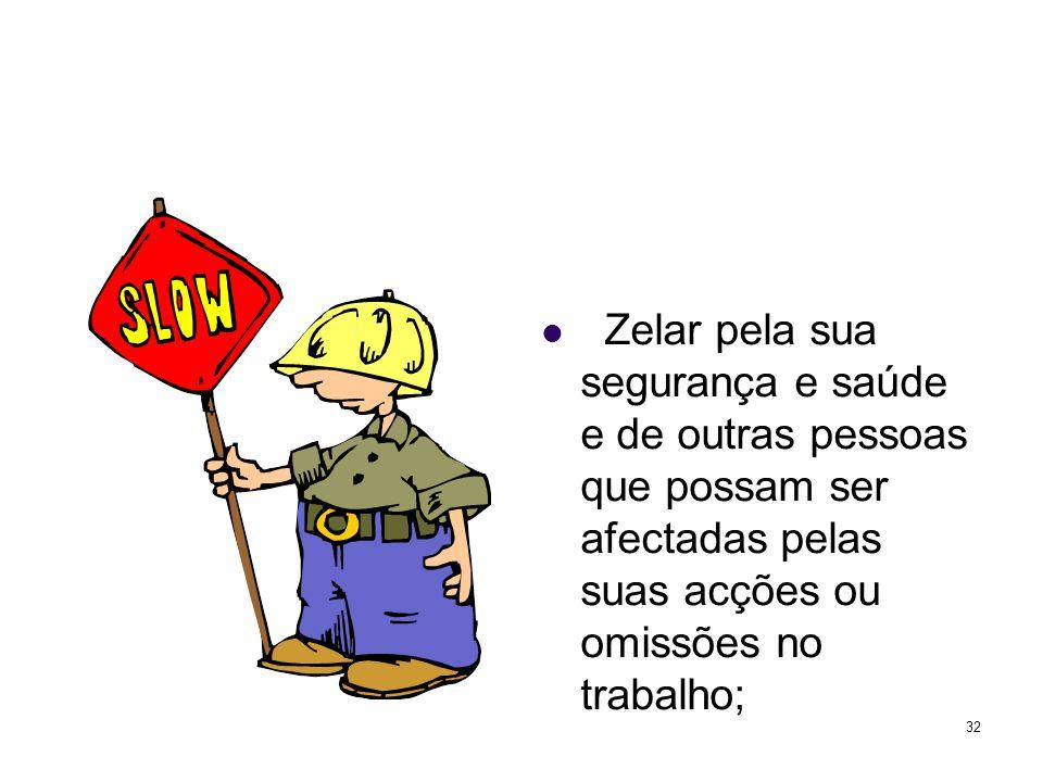 32 Zelar pela sua segurança e saúde e de outras pessoas que possam ser afectadas pelas suas acções ou omissões no trabalho;