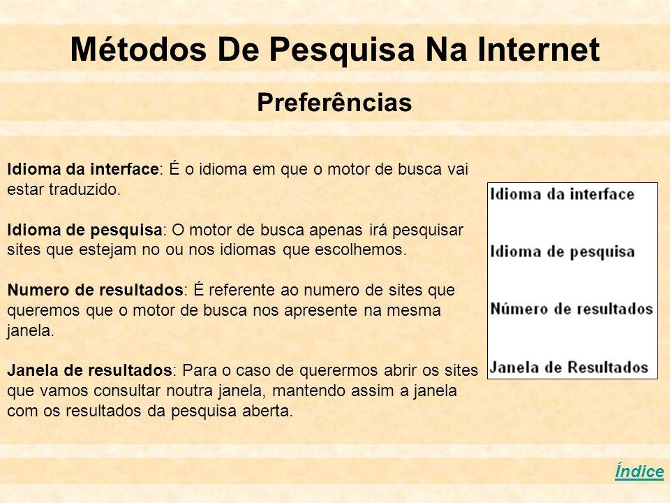 Métodos De Pesquisa Na Internet Preferências Índice Idioma da interface: É o idioma em que o motor de busca vai estar traduzido. Idioma de pesquisa: O