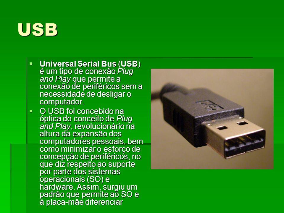 USB Universal Serial Bus (USB) é um tipo de conexão Plug and Play que permite a conexão de periféricos sem a necessidade de desligar o computador. Uni