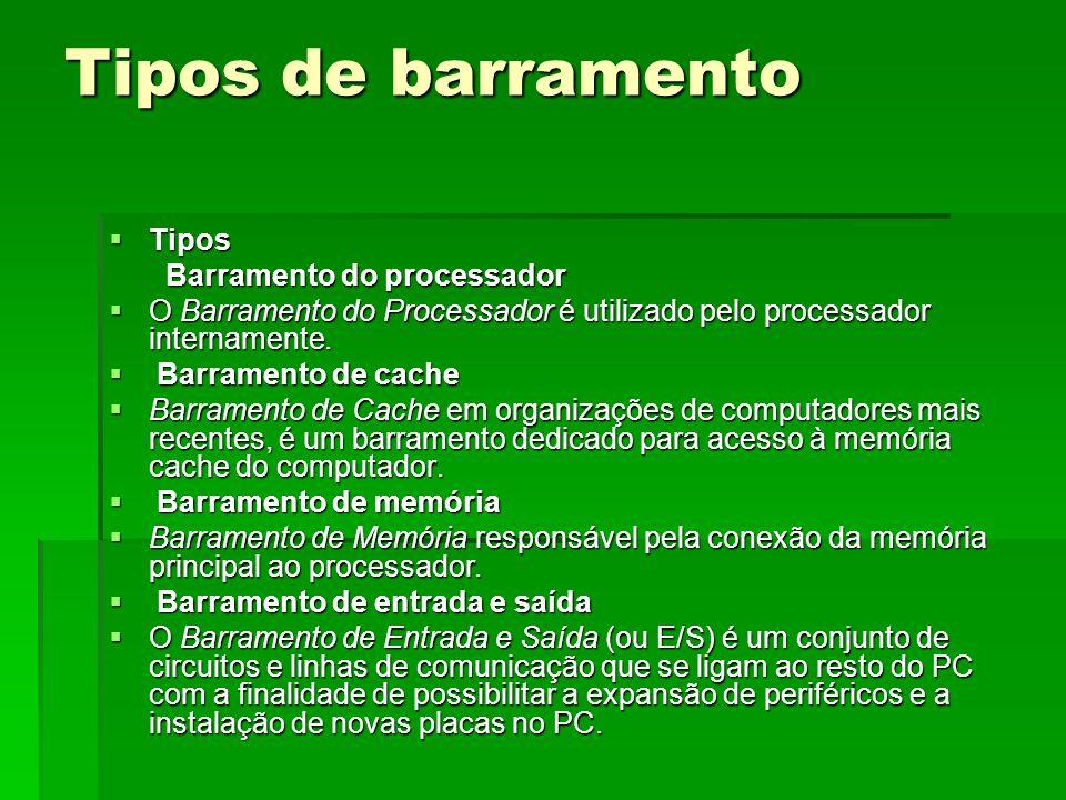 Tipos de barramento Tipos Tipos Barramento do processador Barramento do processador O Barramento do Processador é utilizado pelo processador intername