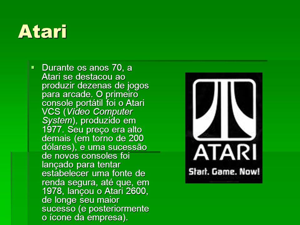 Atari Durante os anos 70, a Atari se destacou ao produzir dezenas de jogos para arcade. O primeiro console portátil foi o Atari VCS (Vídeo Computer Sy