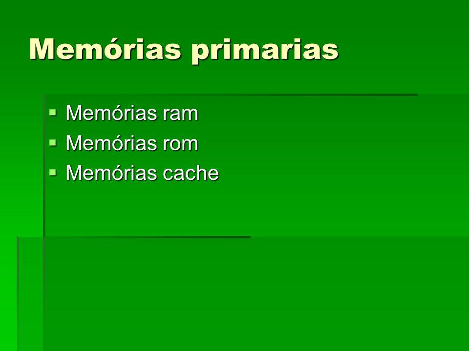 Memórias primarias Memórias ram Memórias ram Memórias rom Memórias rom Memórias cache Memórias cache