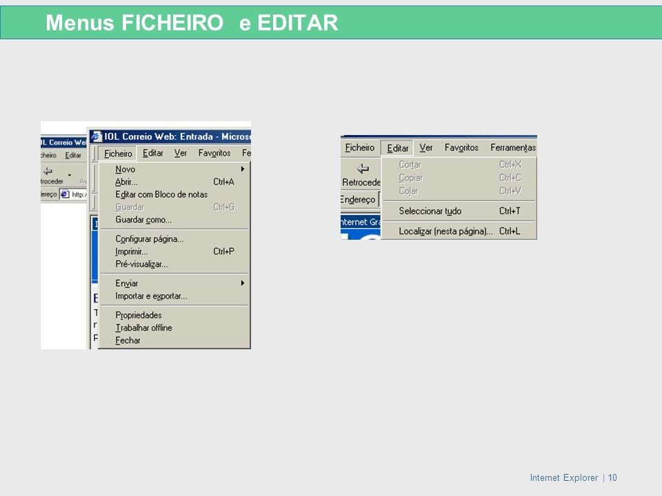 Internet Explorer   10 Menus FICHEIRO e EDITAR