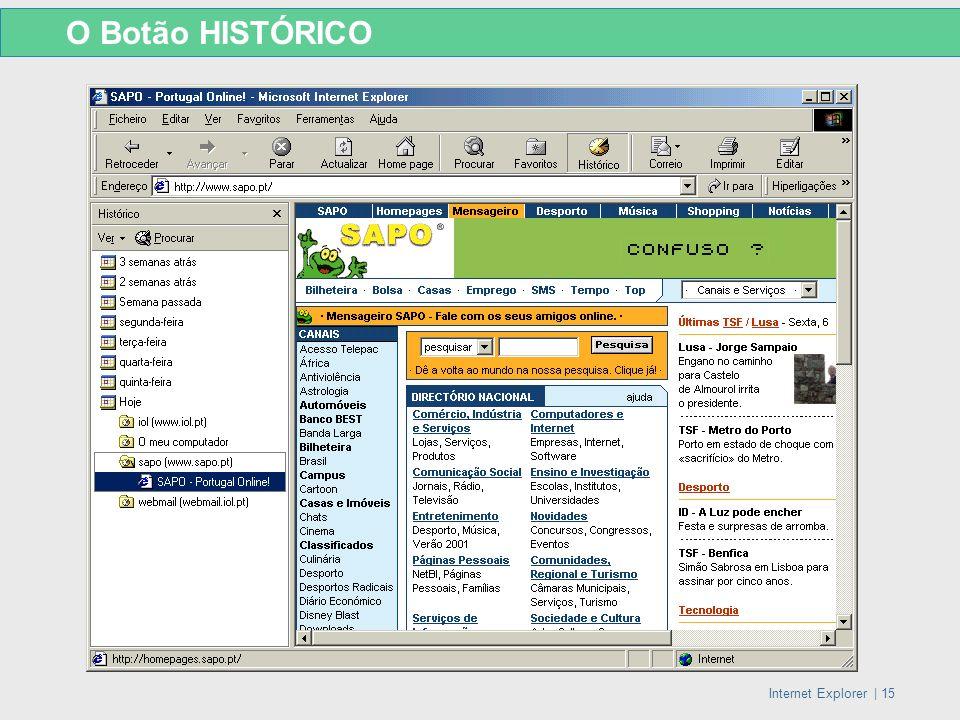 Internet Explorer   15 O Botão HISTÓRICO