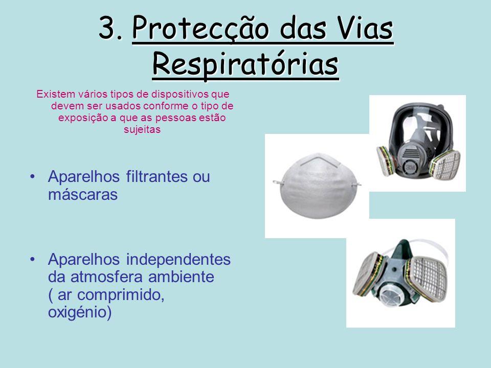 3. Protecção das Vias Respiratórias Existem vários tipos de dispositivos que devem ser usados conforme o tipo de exposição a que as pessoas estão suje