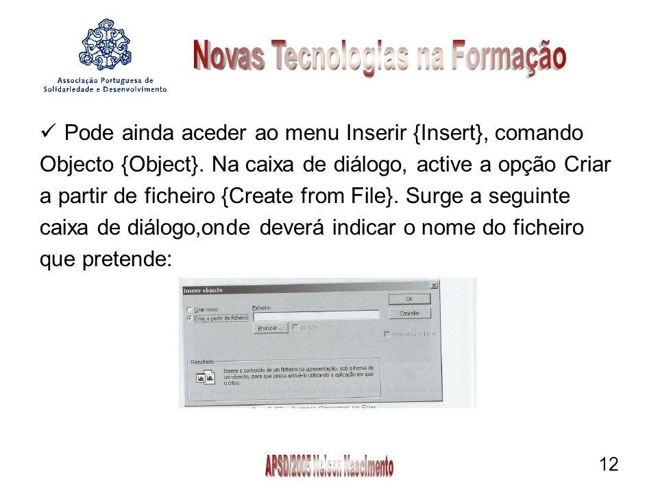 12 Pode ainda aceder ao menu Inserir {Insert}, comando Objecto {Object}.