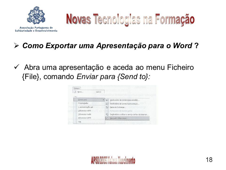 18 Como Exportar uma Apresentação para o Word .