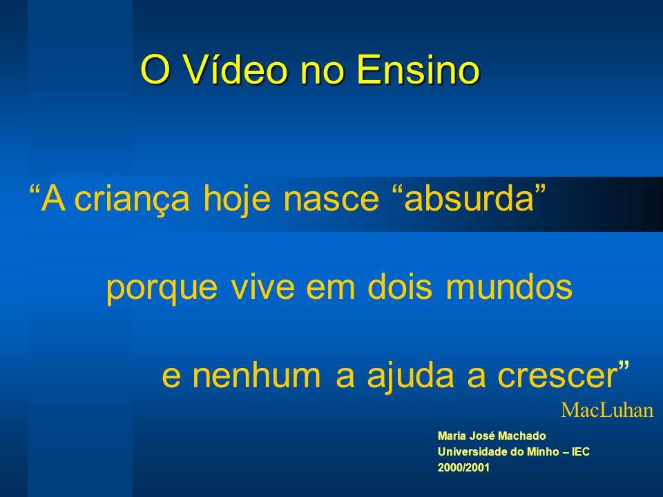 O Vídeo no Ensino Maria José Machado Universidade do Minho – IEC 2000/2001 A criança hoje nasce absurda porque vive em dois mundos e nenhum a ajuda a crescer MacLuhan