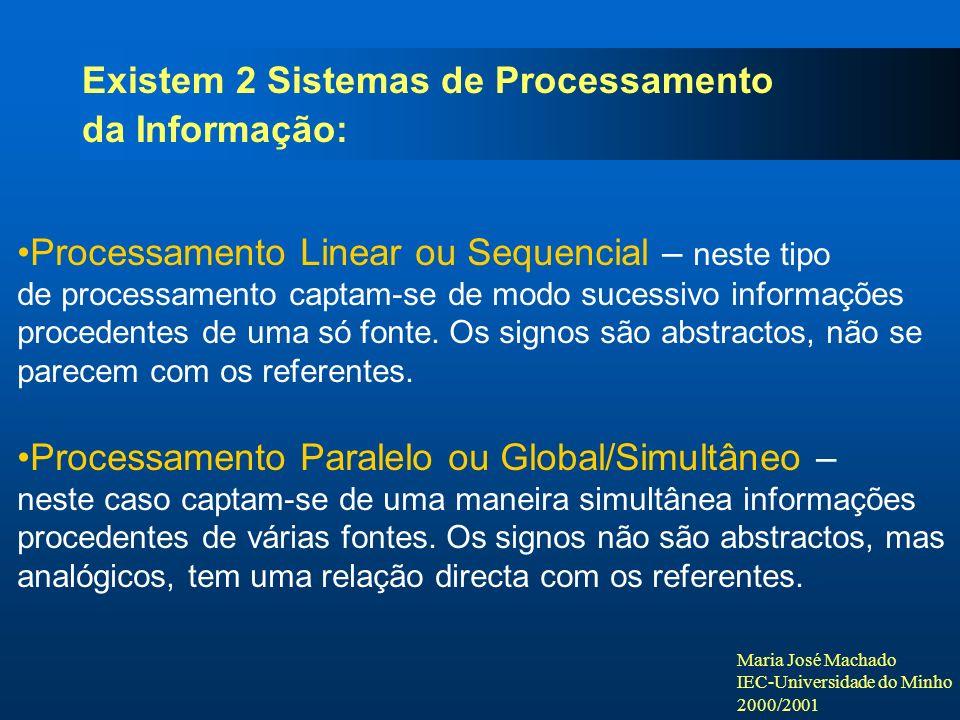 Maria José Machado IEC-Universidade do Minho 2000/2001 Existem 2 Sistemas de Processamento da Informação: Processamento Linear ou Sequencial – neste tipo de processamento captam-se de modo sucessivo informações procedentes de uma só fonte.