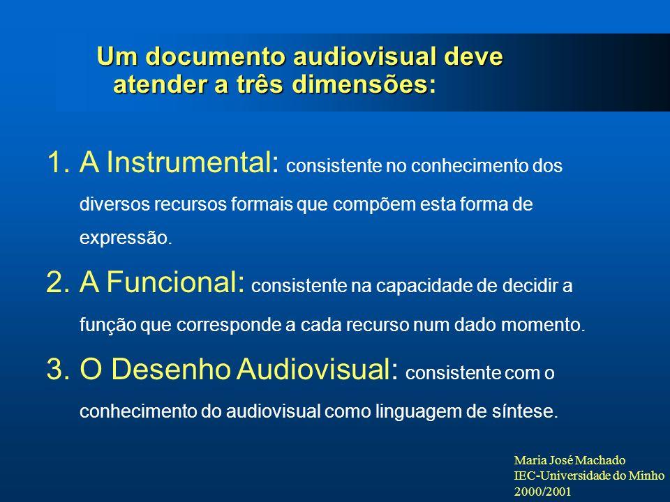 Maria José Machado IEC-Universidade do Minho 2000/2001 Um documento audiovisual deve atender a três dimensões Um documento audiovisual deve atender a três dimensões: 1.A Instrumental: consistente no conhecimento dos diversos recursos formais que compõem esta forma de expressão.