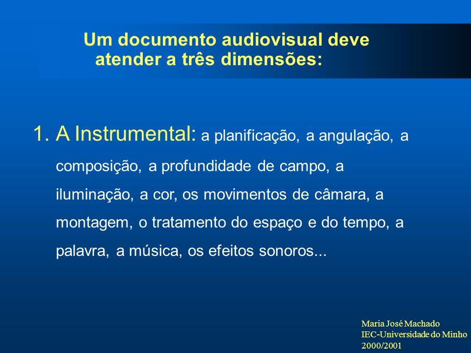 Maria José Machado IEC-Universidade do Minho 2000/2001 Um documento audiovisual deve atender a três dimensões: 1.A Instrumental: a planificação, a angulação, a composição, a profundidade de campo, a iluminação, a cor, os movimentos de câmara, a montagem, o tratamento do espaço e do tempo, a palavra, a música, os efeitos sonoros...