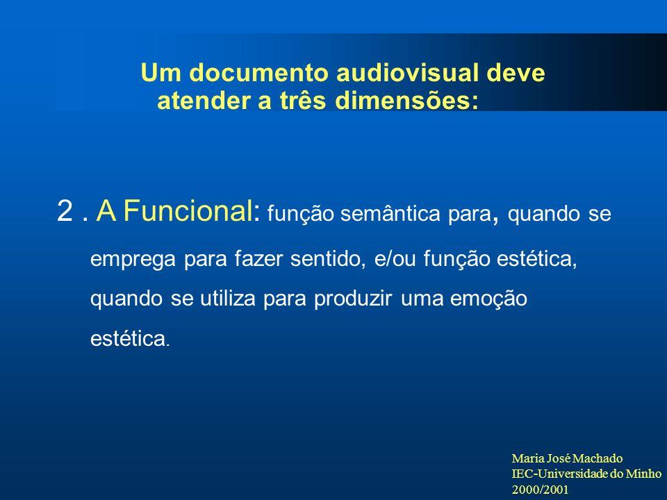 Maria José Machado IEC-Universidade do Minho 2000/2001 Um documento audiovisual deve atender a três dimensões: 2. A Funcional: função semântica para,