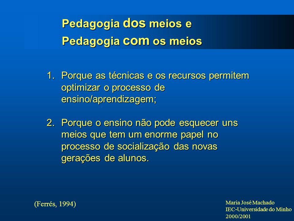 Maria José Machado IEC-Universidade do Minho 2000/2001 Pedagogia dos meios e Pedagogia com os meios (Ferrés, 1994) 1.Porque as técnicas e os recursos