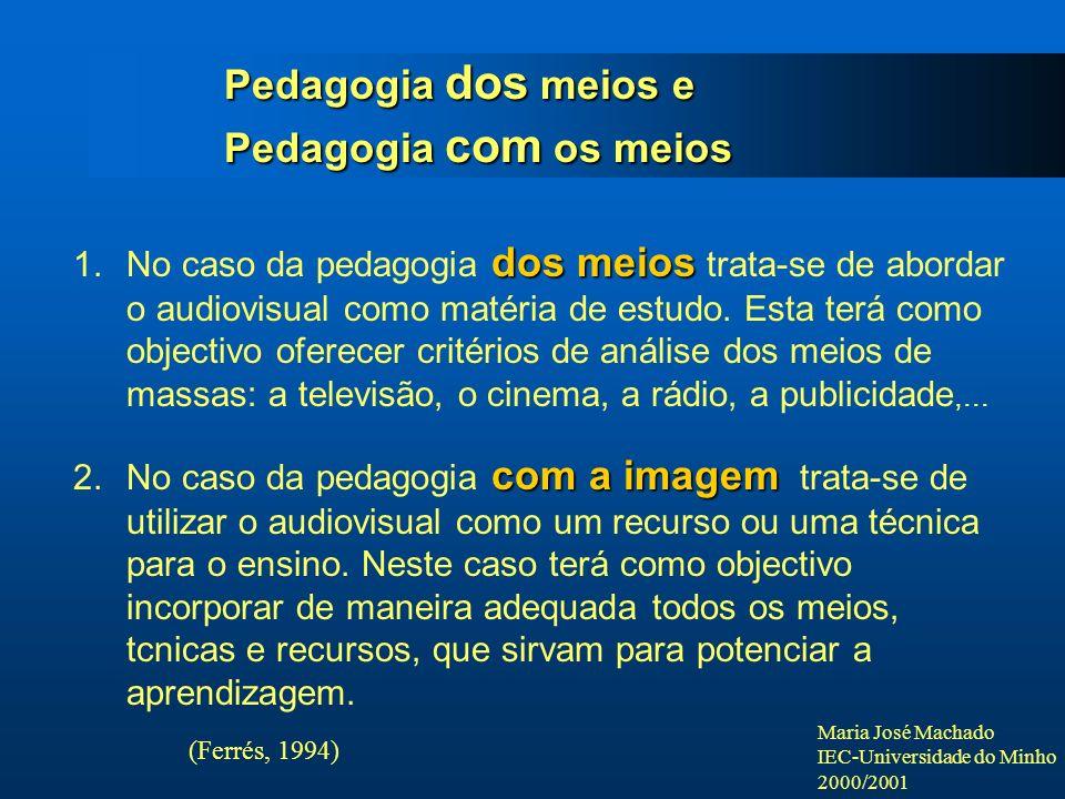 Maria José Machado IEC-Universidade do Minho 2000/2001 Pedagogia dos meios e Pedagogia com os meios (Ferrés, 1994) dos meios 1.No caso da pedagogia do