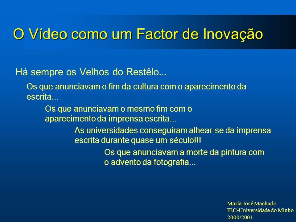 Maria José Machado IEC-Universidade do Minho 2000/2001 O Vídeo como um Factor de Inovação Há sempre os Velhos do Restêlo... Os que anunciavam o fim da