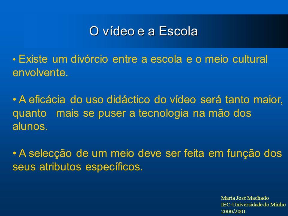 Maria José Machado IEC-Universidade do Minho 2000/2001 Existe um divórcio entre a escola e o meio cultural envolvente. A eficácia do uso didáctico do