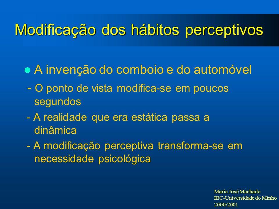 Maria José Machado IEC-Universidade do Minho 2000/2001 Modificação dos hábitos perceptivos A invenção do comboio e do automóvel - O ponto de vista mod