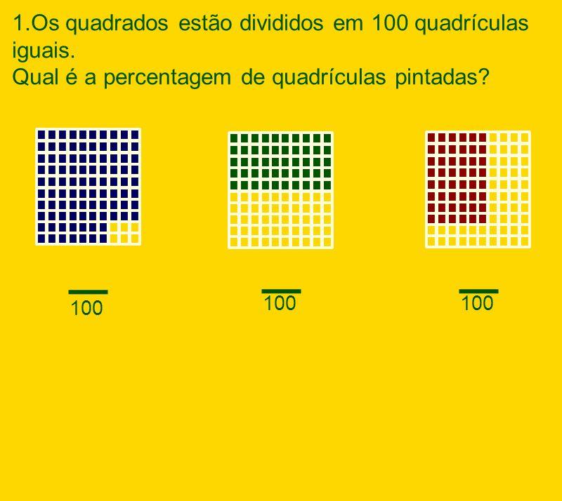 1.Os quadrados estão divididos em 100 quadrículas iguais. Qual é a percentagem de quadrículas pintadas? _ 100 _ _