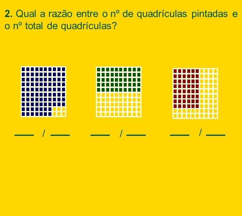 2. Qual a razão entre o nº de quadrículas pintadas e o nº total de quadrículas? / / /