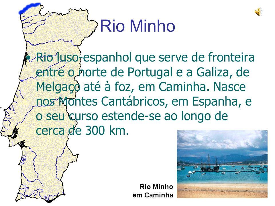 Rio Minho Rio Minho em Caminha Rio luso-espanhol que serve de fronteira entre o norte de Portugal e a Galiza, de Melgaço até à foz, em Caminha. Nasce