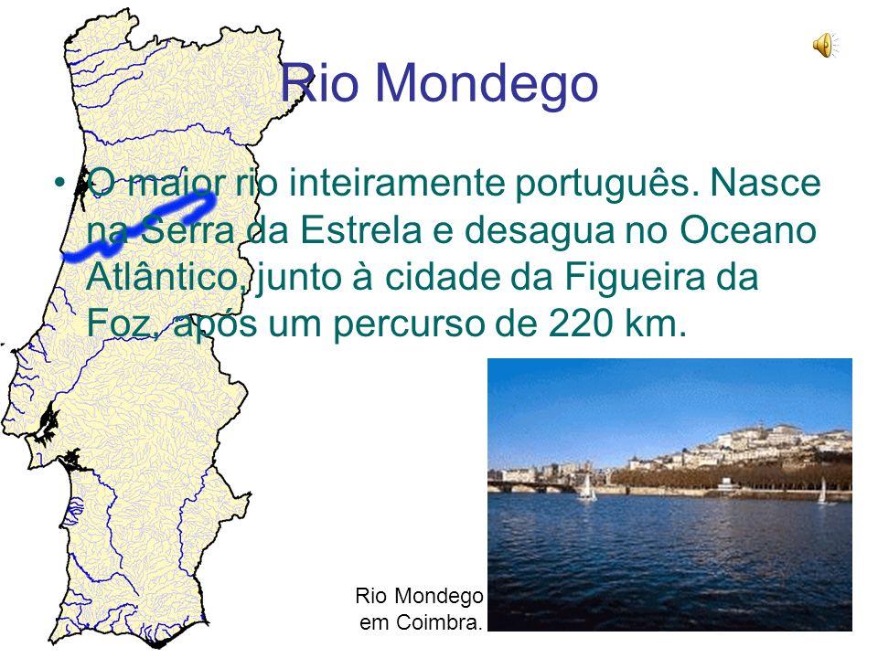 Rio Mondego O maior rio inteiramente português. Nasce na Serra da Estrela e desagua no Oceano Atlântico, junto à cidade da Figueira da Foz, após um pe