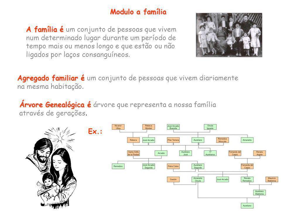 Modulo a família A família é A família é um conjunto de pessoas que vivem num determinado lugar durante um período de tempo mais ou menos longo e que