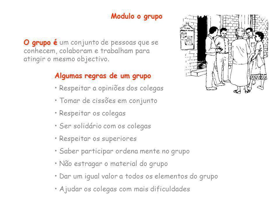 Modulo o grupo O grupo é O grupo é um conjunto de pessoas que se conhecem, colaboram e trabalham para atingir o mesmo objectivo. Algumas regras de um