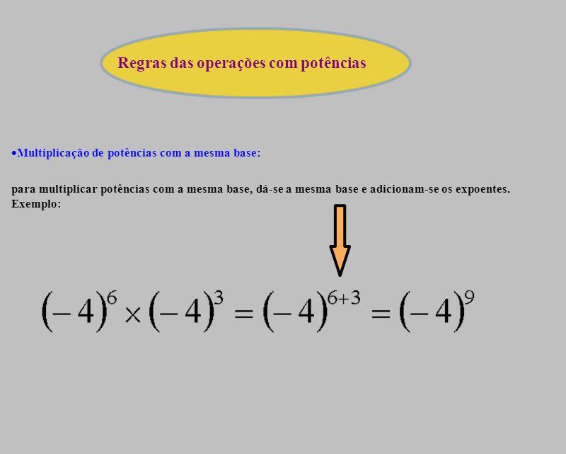 Regras das operações com potências Multiplicação de potências com a mesma base: para multiplicar potências com a mesma base, dá-se a mesma base e adicionam-se os expoentes.