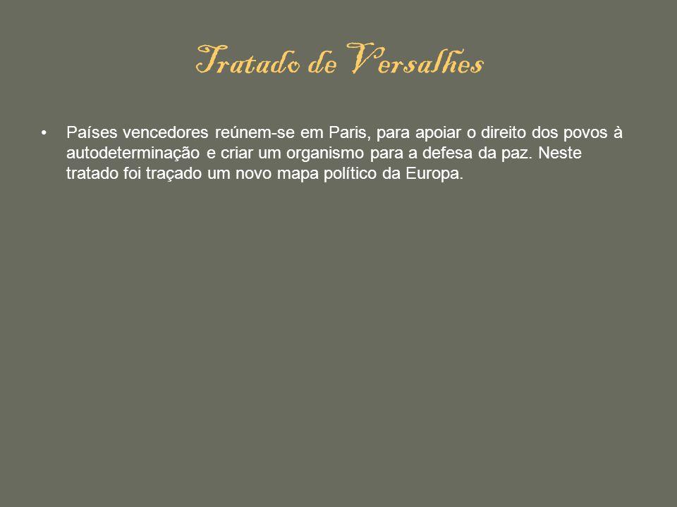 Tratado de Versalhes Países vencedores reúnem-se em Paris, para apoiar o direito dos povos à autodeterminação e criar um organismo para a defesa da pa