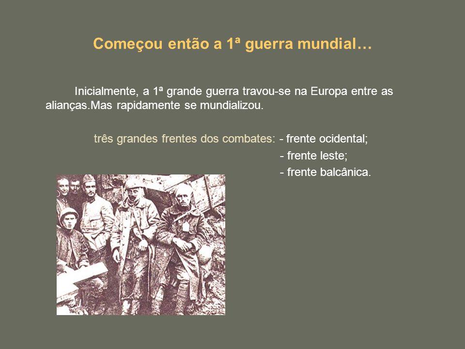 Começou então a 1ª guerra mundial… Inicialmente, a 1ª grande guerra travou-se na Europa entre as alianças.Mas rapidamente se mundializou. três grandes