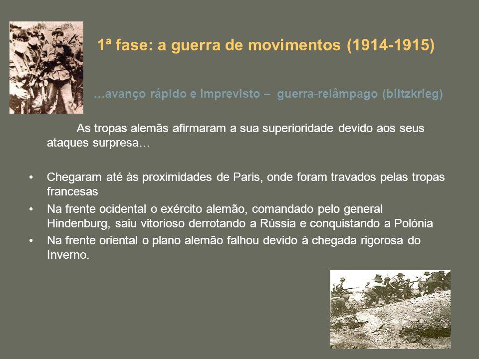1ª fase: a guerra de movimentos (1914-1915) …avanço rápido e imprevisto – guerra-relâmpago (blitzkrieg) As tropas alemãs afirmaram a sua superioridade