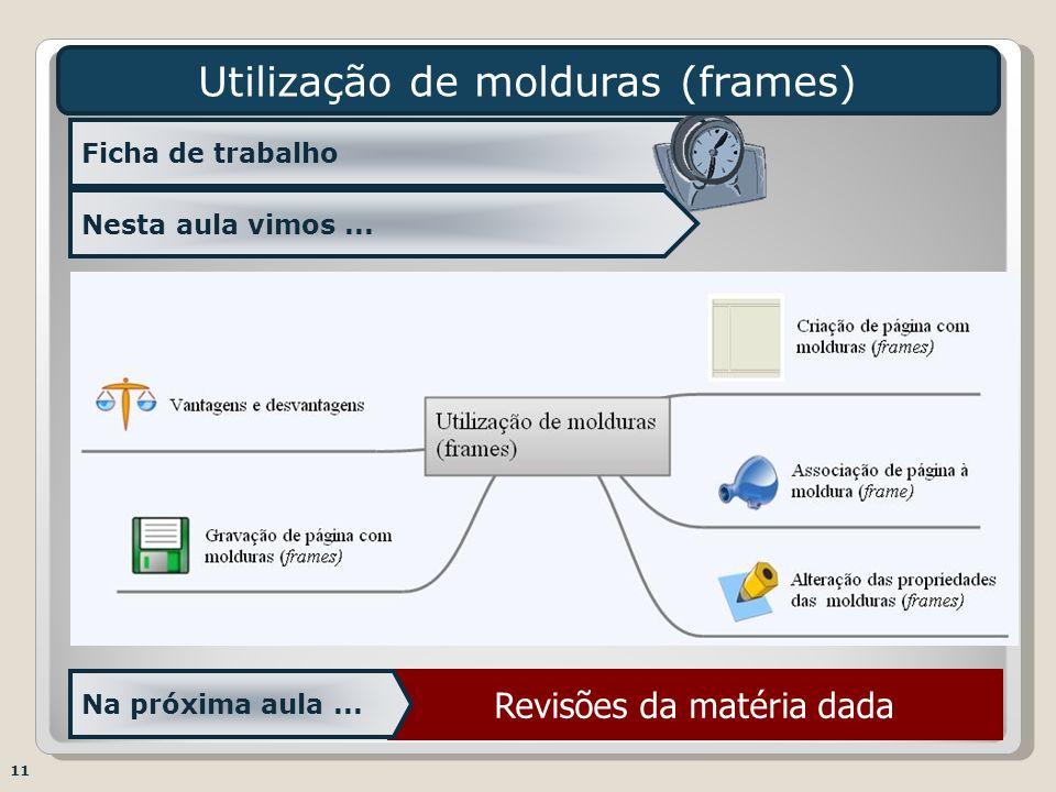 Revisões da matéria dada Ficha de trabalho Utilização de molduras (frames) Na próxima aula... Nesta aula vimos... 11