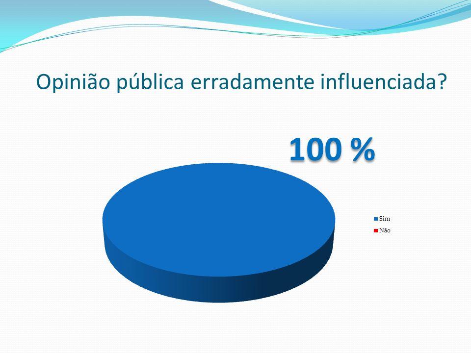 Opinião pública erradamente influenciada? 100 %