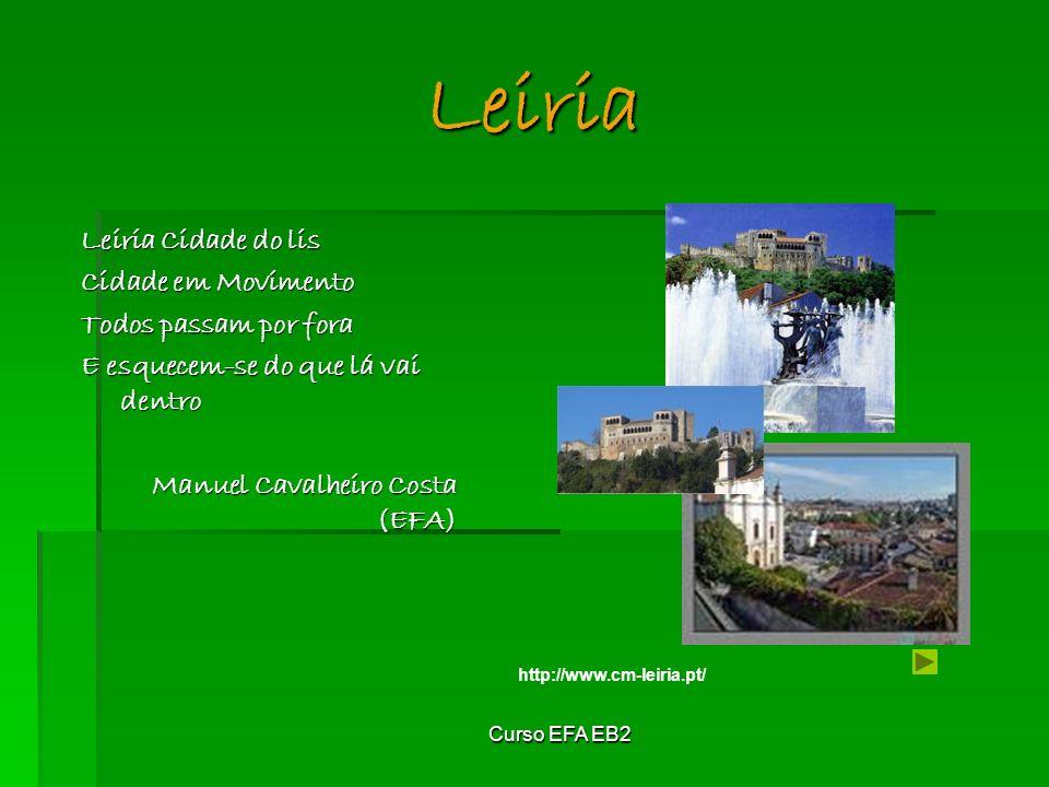 Curso EFA EB2 Leiria Leiria Cidade do lis Cidade em Movimento Todos passam por fora E esquecem-se do que lá vai dentro Manuel Cavalheiro Costa (EFA) http://www.cm-leiria.pt/